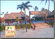 captain morgan's retreat, san pedro, ambergris caye, belize, beach entrance